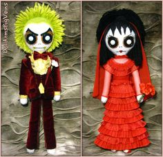 Beetlejuice & Lydia wedding Tim Burton    by DollArmsBigVeins, €90.00
