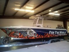 Fish the World boat wrap by pleasantdetails.com
