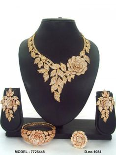 Cubic Zircon Jewelry Manufacturer and Wholesaler, India Gold Bangles Design, Gold Earrings Designs, Necklace Designs, Gold Bridal Jewellery Sets, Gold Jewellery, Stylish Jewelry, Fashion Jewelry, Antique Jewellery Designs, Accessories