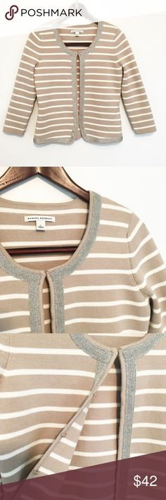 Banana Republic Metallic Tan Stripe Open Sweater Okay, this is precious! A classic piece with tan and white stripes, and Metallic silver accent trim. Hook and eye closure. Gorgeous piece, and perfect for any wardrobe! Banana Republic Sweaters Cardigans