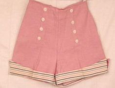 Vintage 1950's Pink Pin Up High Waist Women's Shorts