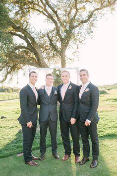 charcoal and pale pink groomsmen look #groomsmen #groom #weddingchicks http://www.weddingchicks.com/2014/01/31/vintage-barn-wedding-2/