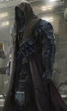 a little less armored and this would make a good Vigilante Sci-Fi Fantasy Character Design, Character Design Inspiration, Character Art, Character Concept, Robot Concept Art, Armor Concept, Robot Art, Fantasy Armor, Dark Fantasy Art