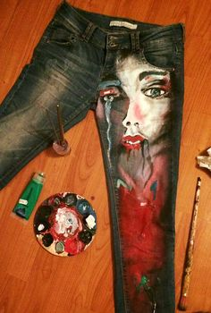 Custom Painted Jeans by MagicCreators on Etsy The process of painting on clothing could inspire mural specific works Painted Jeans, Painted Clothes, Hand Painted, Diy Clothing, Custom Clothes, Textiles, Denim Kunst, Diy Jeans, Mode Jeans