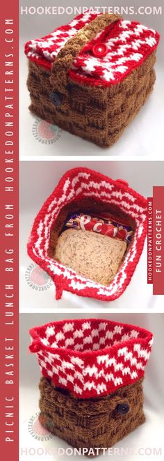 Lunch Bag Crochet Pattern - Create this cute mini picnic basket style bag for a fun and handy way to carry your packed lunch. #crochet #lunch