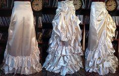 Satin Long Victorian Tie Bustle Skirt by RetroscopeFashions