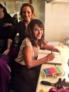 """Jennifer Beals signing Marlee Matlin 's guestbook for """"Spring Awakening"""" Broadway Musical"""