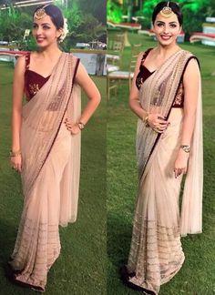 Beige Net New Design Online Shopping For Bollywood Sarees - Indian Dresses Bollywood Designer Sarees, Indian Designer Sarees, Indian Designer Outfits, Bollywood Saree, Indian Outfits, Indian Sarees, Bollywood Outfits, Indian Gowns, Bollywood Actress