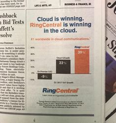Our formula for winning in the #cloud = great #customers + #innovative #product + amazing team! We recently ran a front page #ad in @WSJ, in case you missed it check it out here // #WallStreetJournal #WSJ #UCaaS #CloudComputing