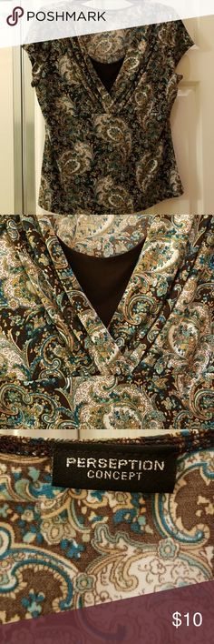 494277a20214ec Short sleeve top Good used condition, short sleeve paisley top with  Brown's, Cream, Teal & Turquoise. Material feels like Polyester. No size  tag, but looks ...
