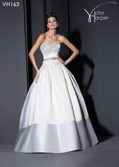 Strapless satin ball gown with embroidered pearl and crystal bodice, ribbon at waist, and contrast band of matte satin on skirt hem. Victor Harper Collection Fall 2014 style #VH162 #bridalgown #weddinggown #weddingdress