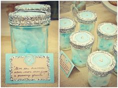 cotton candy looks so pretty in jars like this, cute idea