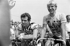 Teammates Bernard Hinault and Laurent Fignon at the 1983 Tour de France.