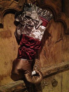 Satin & antique lace ruffled Christmas stocking with bow