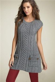 Pin by on Mode für Frauen Crochet Tunic, Crochet Clothes, Cozy Fashion, Knitting Designs, Knitting Patterns, Knit Dress, Hand Knitting, Knitwear, Short Sleeve Dresses