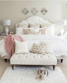 If you are tired of your master bedroom, you can incorporate a few changes that make a big difference. Romantic master bedroom interior design ideas can include updating your wall finishes with a…More Dream Rooms, Dream Bedroom, Home Decor Bedroom, Bedroom Bed, Bedroom Apartment, White Comforter Bedroom, Warm Bedroom, Target Bedroom, Bedroom Neutral
