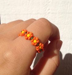 Items similar to Peyote ring, Seed bead ring, Beaded ring, Beadwork ring, flower ring on Etsy Cute Jewelry, Beaded Jewelry, Handmade Jewelry, Beaded Bracelets, Jewellery, Diy Beaded Rings, Flower Jewelry, Jewelry Accessories, Embroidery Bracelets