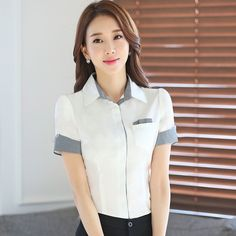 image Office Uniform For Women, Corporate Shirts, Sewing Blouses, Work Uniforms, Black And White Blouse, Uniform Design, Stylish Shirts, Camisa Polo, Ali Express