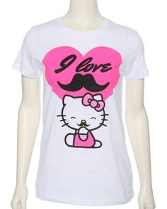 rue21 Hello Kitty Mustache Tee. $12.99 hello kitty and mustache together !(: omg my tow obsesssionnsss(: