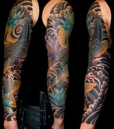 AMAZING colour scheme on this Koi sleeve. Credit: Aaron Bell || Slave to the Needle
