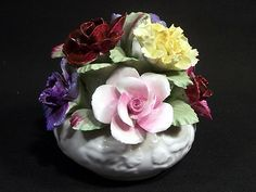 Sold AYNSLEY FINE BONE CHINA FLORAL BASKET HAND PAINTED