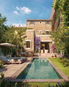 Climbing Hydrangea, Climbing Vines, Go Skinny Dipping, Virginia Creeper, Fast Growing Plants, Backyard Pool Designs, Tuscan House, Water Element, Mediterranean Homes