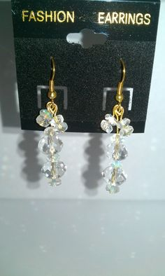 Clear faceted beads, dangle earrings