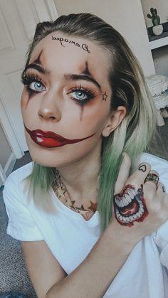 Gangster joker female Joker Halloween Makeup, Halloween Inspo, Halloween Makeup Looks, Halloween Kostüm, Halloween Outfits, Pretty Halloween, Female Halloween Costumes, Female Joker Costume, Halloween College