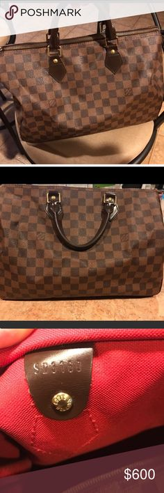 Louis Vuitton Damier Speedy 30 100% Authentic Louis Vuitton Damier Speedy 30 handbag. Code reads SD3160. I do not have the dust bag this was purchased years ago. Great condition on the exterior, minor staining on the inside as indicated but can be cleaned and totally unnoticeable when you have items in the bag. comes from a smoke free home. ALL REASONABLE OFFERS are welcomed, this is the best price on posh! I will ship immediately!!! This will not last long at this price Louis Vuitton Bags…