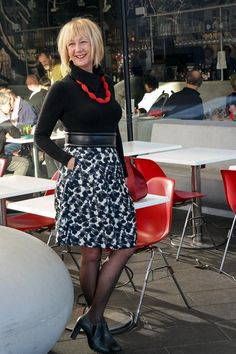 This black, white and grey flower skirt is by Max Mara or a subbrand. Shoed Steffen Schraut