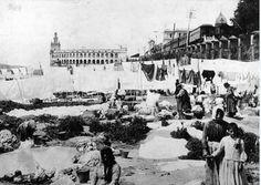 Lavanderas en la costanera del Río de la Plata. De fondo la antigua Aduana de Buenos Aires (donde está actualmente la Casa Rosada)