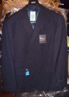 Marks & Spencer Navy Blue Stripe Size 46 S Crease Resist Blazer Reg Fit New Tags #MarksSpencer #TwoButton