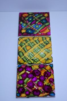 Set of 3 One Of A Kind Decorative Tiles Hand by WyvernDesignsHome