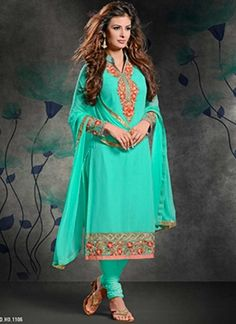 Angelic Turquoise Embroidery work Georgette Churidar Suit #Suits #Salwar   http://www.angelnx.com/Salwar-Kameez