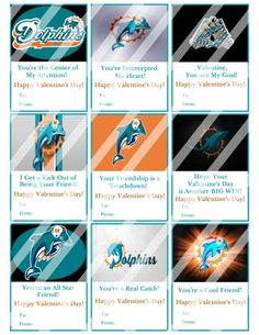 Miami Dolphins Printable Digital Personalized Valentines Day Cards #4