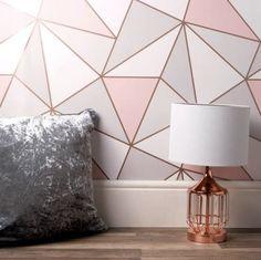 Bedroom Wall Designs, Room Ideas Bedroom, Bedroom Wallpaper Designs, Wallpaper For House, Modern Wallpaper Designs, Interior Wallpaper, Girls Room Paint, Girl Room, Geometric Wall Paint