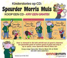 Speurder Morris Muis is een van die mees geliefde karakters wat ooit uit Anna Emm se pen verskyn het! Hierdie eksentrieke speurder is ewe gewild onder grootmense as kinders, met sy koddige sêgoed en sy manier om homself per ongeluk in die snaaksste situasies te laat beland. Saam met sy assistent, Allekletsie, los hy allerhande raaiels op. Hierdie week kan jy kies uit enige van die drie Speurder Morris Muis storie-CD's –  KOOP EEN, KRY EEN GRATIS!  Dis twee CD's vir die prys van een – moenie… Anna, Comics, Comic Book, Comic Books, Comic, Cartoon, Graphic Novels