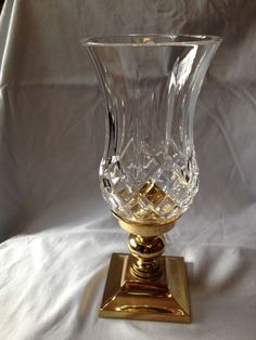 WATERFORD CRYSTAL LISMORE PATTERN HURRICANE LAMP CANDLE HOLDER W/BRASS BASS $46.00 (18 bids nds 1/20/14)