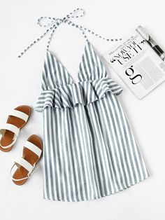SheIn offers Halter Neck Vertical Striped Frill Trim Dress more to fit your fashionable needs. Style Work, Mode Style, Look Fashion, Fashion Outfits, Womens Fashion, Fashion Mode, Fashion Styles, Dress Fashion, Mode Lookbook