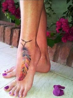 Watercolor Feather Tattoo Ideas on Foot for Women at MyBodiArt.com - Anklet Ankle Wrap Around Chain Indian Tribal Rainbow Tats for Girls