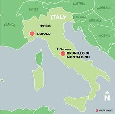 Barolo is made in Piedmont above the fog in the Appenine hills and Brunello is made in the hill town of Montalcino in Tuscany.