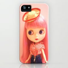 New Hat  iPhone & iPod Case by Vintage  Cuteness - $35.00 #vintage #blythe #doll #pink #kawaii #red #gingham #childrens # iphone #ipod #case #girly