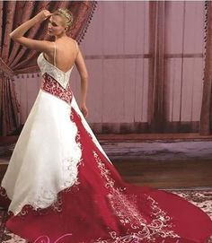 Red White Wedding Dress Colored Gowns Maroon Dresses