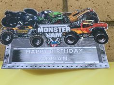 Monster jam happy birthday signs
