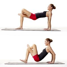 Arms: Table top press  Sit with knees bent, feet on mat, hands by hips (fingers forward). Lift hips so body forms tabletop with shoulders over hands, thighs and torso parallel to floor. Lift left foot; cross left ankle over right knee.    Bend elbows, lowering butt nearly to mat; press back up, straightening elbows and engaging triceps. Do 10 reps; switch legs and repeat.