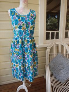 Seersucker 2 Hazel Dress sz14. Dear Hazel. One of a kind vintage upcycled fabric dress.