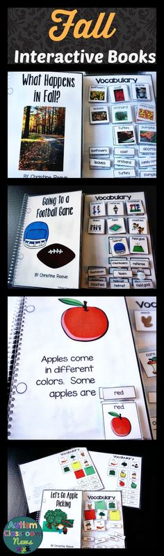 If you are ready for fall and apples and crisp colored leaves, these 5 adapted, interactive books are just what you need.  They are great for young learners and students with special needs to work on language concepts.  They are also great for students using augmentative communication strategies (AAC).  Includes words and pictures to match.