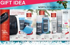 We have a fab offer on our North for Men sets too this Catalogue and if you choose from the Soap and Hand Cream Set, the Deodorant, Body and Hair wash set or the Shaving Foam, Aftershave Balm plus Éclat Sport Eau de Toilette set you can qualify to get the Toiletry Bag at half price. Or guys, you can get the whole lot for just £24.20. That's an outstanding offer from our best-selling men's care range and a gift that will last well through to the New Year.