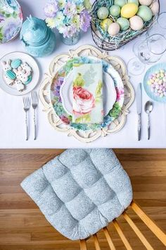 Easter Pastel Floral Table Setting featuring our Tibet Mandalas Spa Green Dining Chair Cushions with Ties. The subtle spa green design is on a creamy white background and fits with modern and bohemian decors. Our chair pads are made in the USA by Barnett Home Decor and latex foam filled so they will not go flat. Teal Dining Chairs, Dining Chair Cushions, Easter Table Settings, Pastel Floral, Transitional Decor, Mandala Pattern, Outdoor Fabric, Fabric Decor, Mandalas