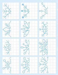 Flores how to draw Graph Paper Drawings, Graph Paper Art, Motifs Blackwork, Art Worksheets, Back To School Worksheets, 3rd Grade Art, Form Drawing, Doodles Zentangles, Winter Art